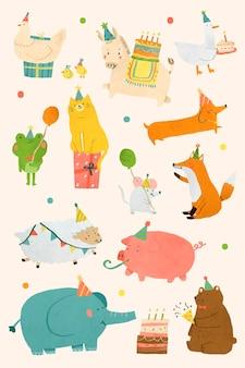 Diseño de doodle de fiesta de animales
