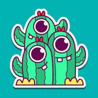 Diseño de doodle de personaje de dibujos animados de monstruo
