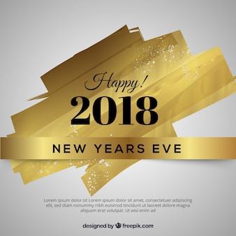 Diseño dorado para año nuevo 2018