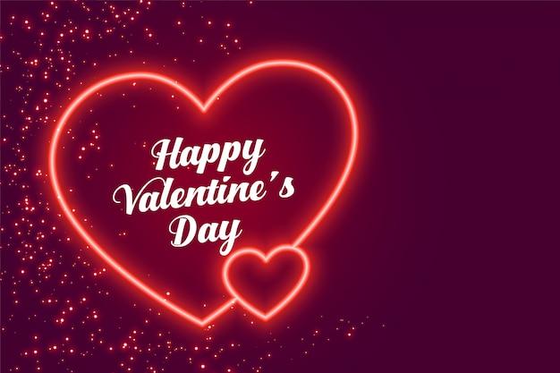 Diseño de dos corazones de neón feliz día de san valentín