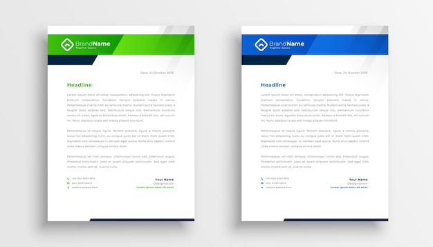 Diseño de dos plantillas de membrete moderno para identidad empresarial