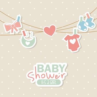 Diseño de la ducha del bebé sobre fondo punteado ilustración vectorial