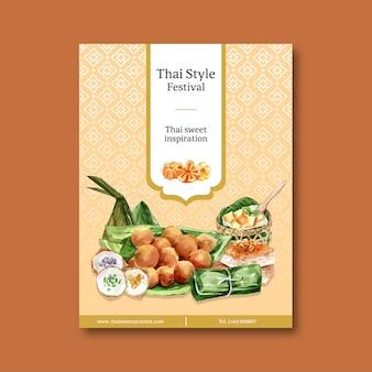 Diseño dulce tailandés del cartel con natillas tailandesas, acuarela del ejemplo del pudín.