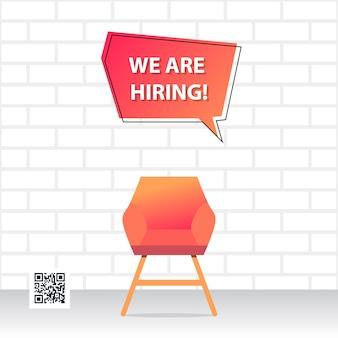 Diseño e ilustración de vacante de trabajo con objeto de silla y fondo de pared de ladrillo