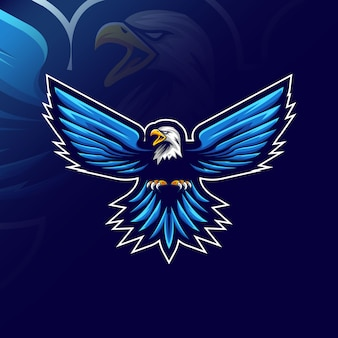 Diseño de e-sport con logo de mascota eagle