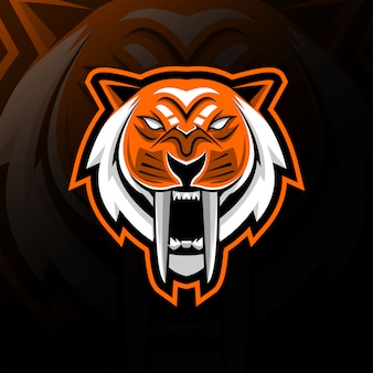 Diseño de e-sport de logotipo de mascota de dientes de sable de cabeza