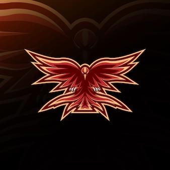 Diseño de e-sport del logotipo de la mascota de phoenix