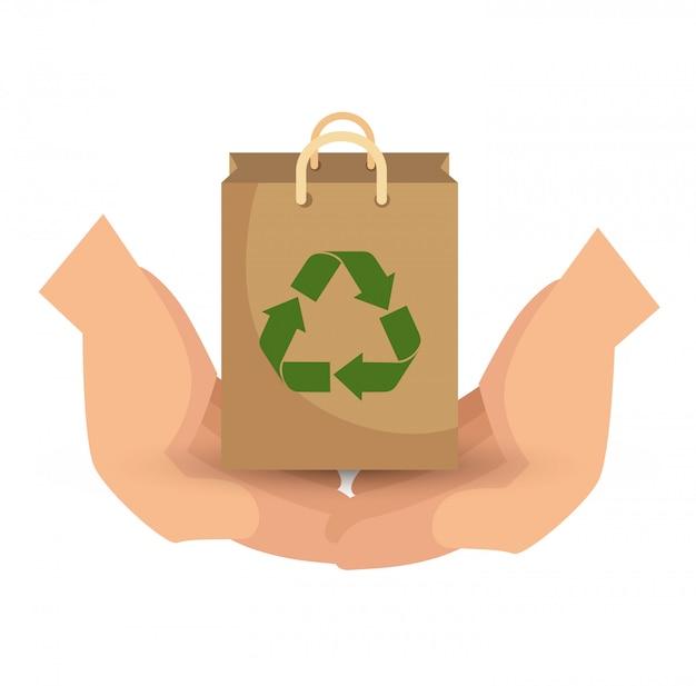 Diseño de ecología de reciclaje de flechas en estilo plano