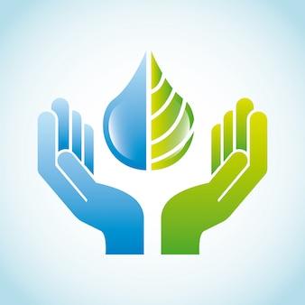 Diseño ecológico sobre fondo azul ilustración vectorial