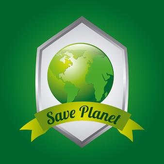 Diseño ecológico sobre fondo verde ilustración vectorial