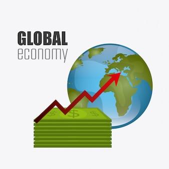 Diseño de economía global, dinero y negocios.