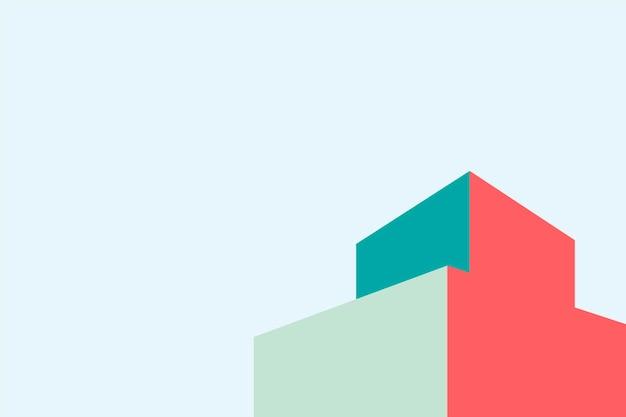 Diseño de edificio minimalista y colorido