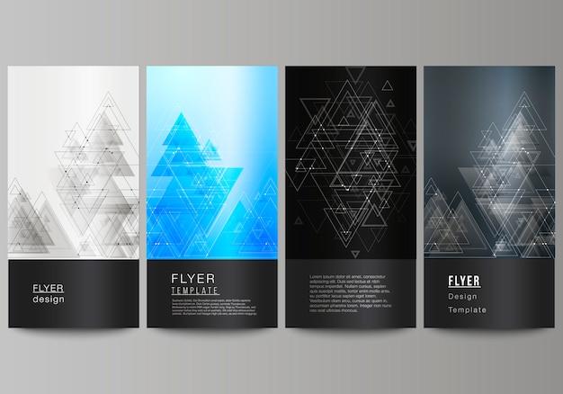 Diseño editable abstracto minimalista de cuatro plantillas de banner vertical moderno