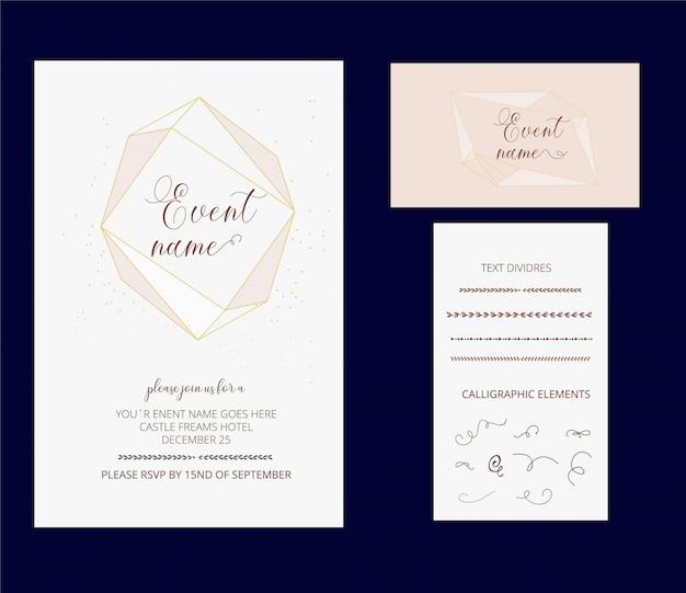 Diseño editable de la invitación y de la tarjeta de visita con los divisores dibujados mano del texto