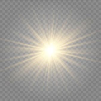 Diseño de efecto de luz especial translúcido con reflejo de lente de sol frontal dorado abstracto.