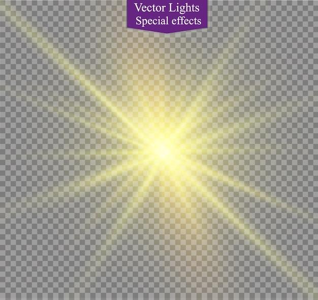 Diseño de efecto de luz especial transparente de la llamarada solar frontal de oro de la lente abstracta. desenfoque de movimiento vectorial resplandor resplandor