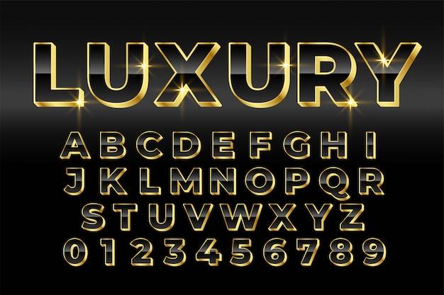 Diseño de efecto de texto de estilo 3d dorado de lujo premium