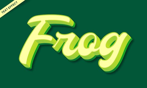 Diseño de efecto de texto de rana de piel verde
