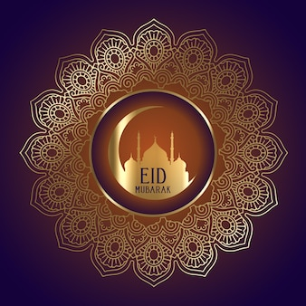 Diseño de eid mubarak con silueta de mezquita en marco decorativo.