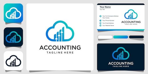 Diseño del ejemplo del icono del vector del logotipo de las finanzas de la nube