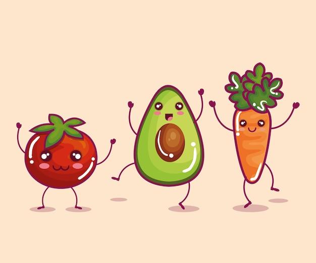 Diseño del ejemplo del vector del carácter divertido de las verduras frescas