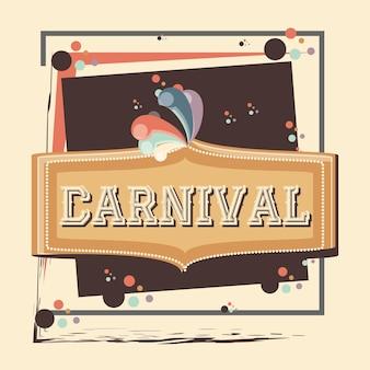 Diseño del ejemplo del vector del icono de la vendimia de la etiqueta del carnaval