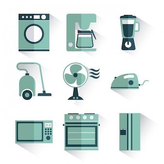 Diseño de electrodomésticos sobre fondo blanco ilustración vectorial