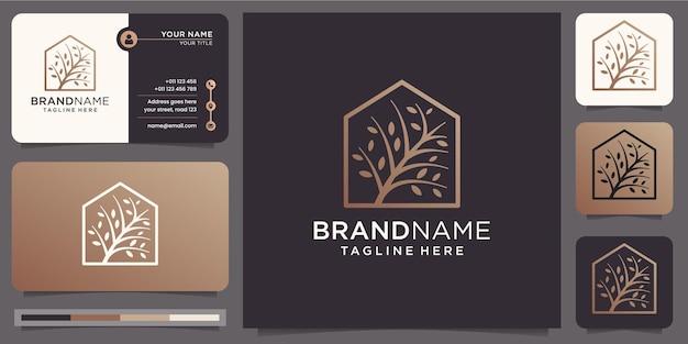 Diseño elegante árbol y hogar. árbol moderno con combinación en marco simple de casa. plantilla de logotipo y tarjeta de visita