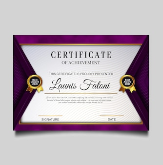 Diseño elegante certificado de logro