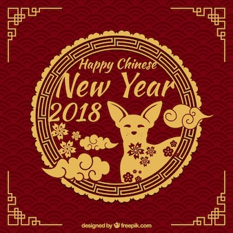 Diseño elegante circular para año nuevo chino