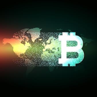 Diseño elegante de bitcoin sobre mapa del mundo