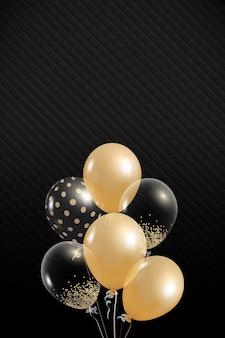 Diseño elegante de globos sobre fondo negro