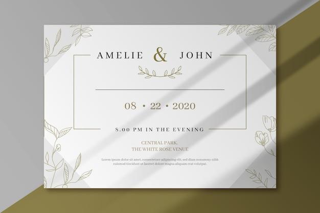 Diseño elegante de invitación de boda