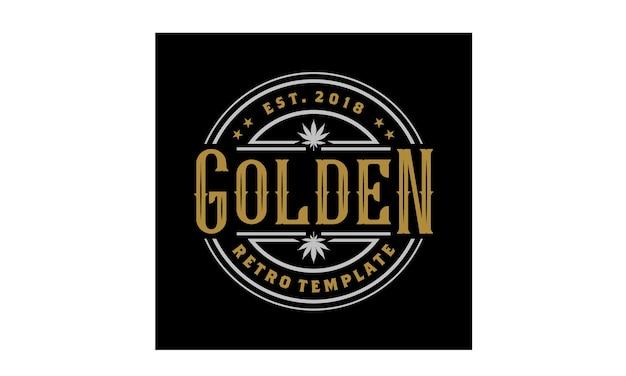 Diseño elegante del logotipo del emblema de la vendimia