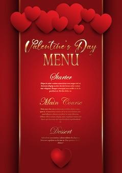 Diseño elegante del menú del día de san valentín