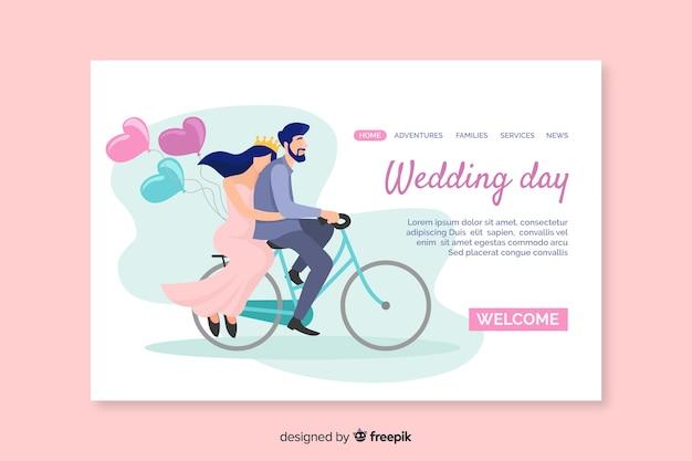Diseño elegante de la página de inicio de la boda