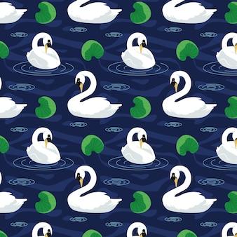 Diseño elegante del patrón de cisne