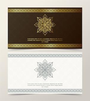 Diseño elegante de la plantilla de la tarjeta de felicitación del fondo con el marco decorativo del borde del ornamento de oro
