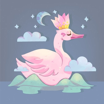 Diseño elegante princesa cisne