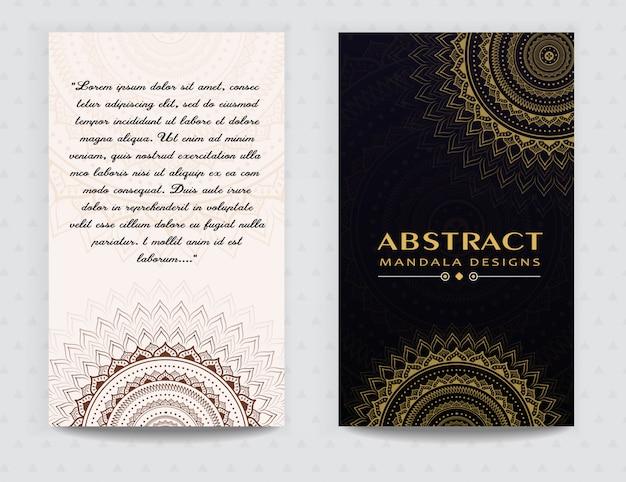 Diseño elegante de la tarjeta de oro de mandala premium