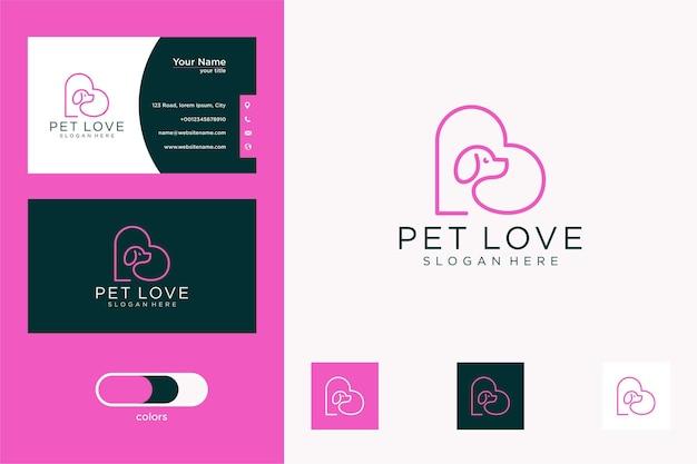 Diseño elegante de la tarjeta de visita del logotipo del animal doméstico del amor