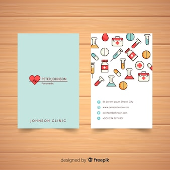 Diseño elegante de tarjeta de visita médica