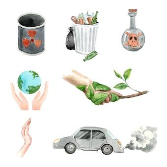 Diseño de elementos de acuarela sobre calentamiento global