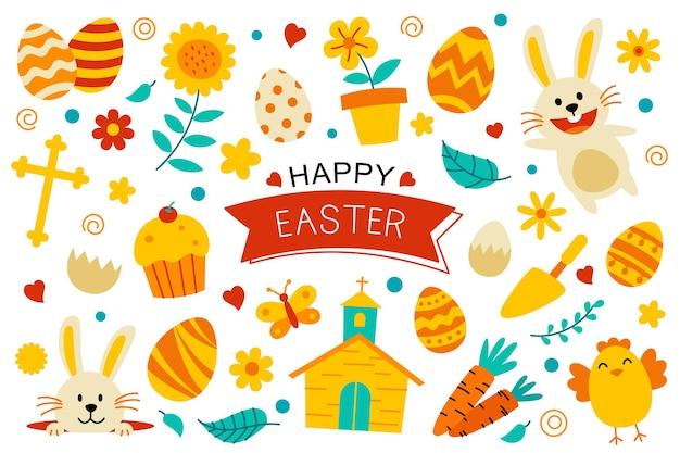 Diseño de elementos de color plano de feliz pascua. pascua con objeto y decoraciones sobre fondo blanco.