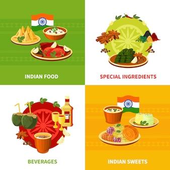 Diseño de elementos de comida india.