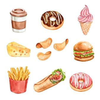 Diseño de elementos de comida rápida con acuarela