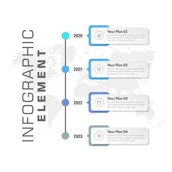 Diseño de elementos de infografía de línea de tiempo con años