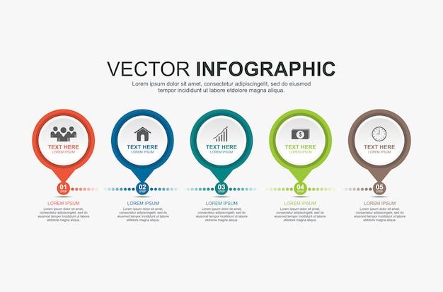 Diseño de elementos infográficos con 5 opciones.