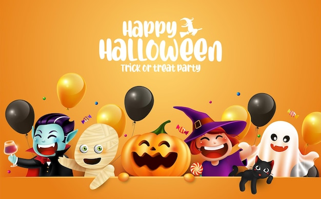 Diseño de elementos de letras y personajes de halloween con espacio de copia fondo de halloween