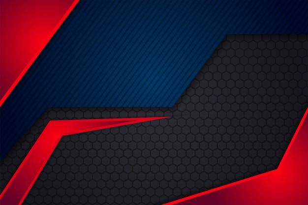 Diseño de elementos rojos y azules. fondo moderno abstracto con hexágono y diagonal